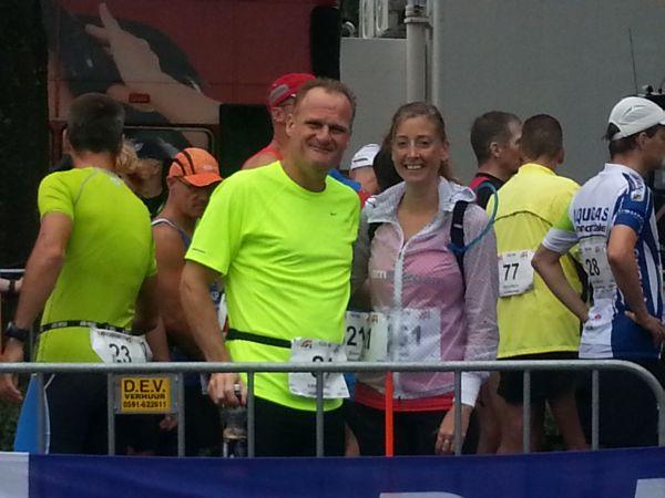 Rinus en Linda voor hun start van de 100 kilometer