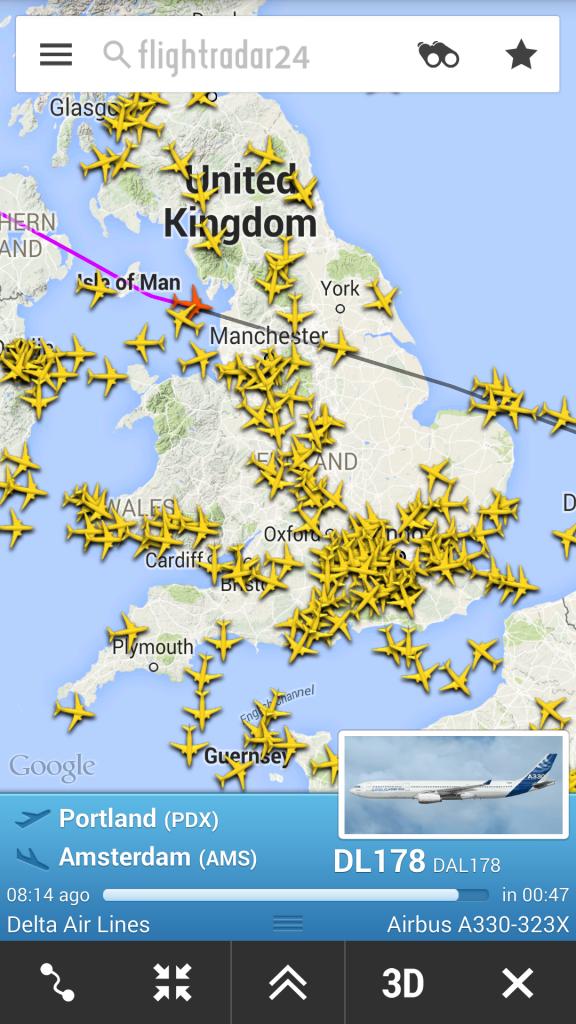 Vliegtuig volgen.