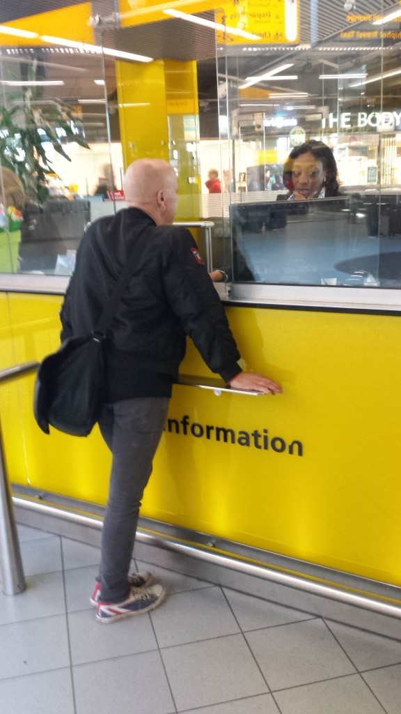 Mr Jozzy Rubenski had to go to the information desk for information about passengers from Portland.