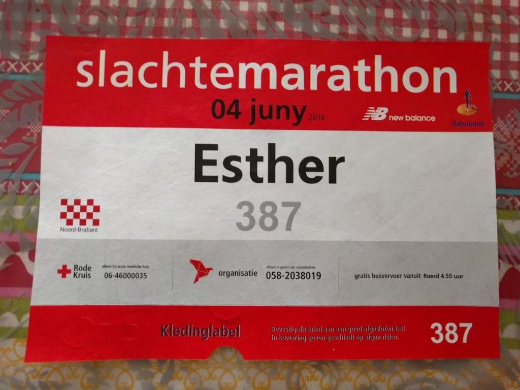 Startnummer van Esther en ik kom voor deze keer uit de provincie Noord-Brabant