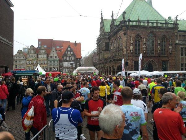 Het startveld voor de marathon.