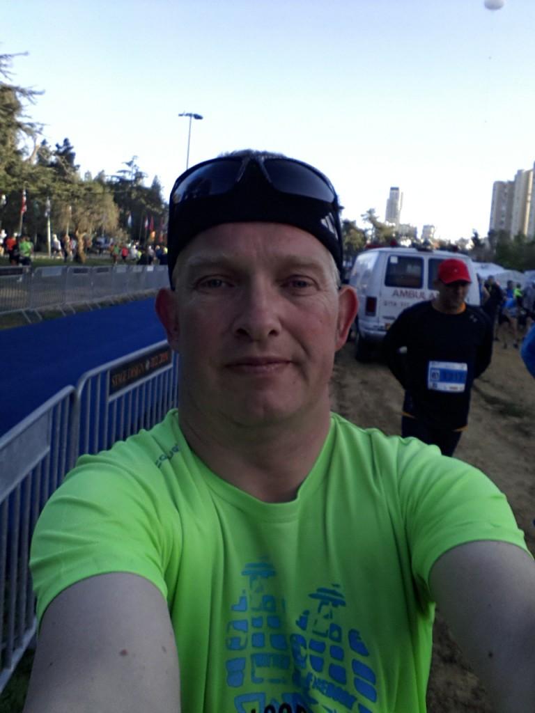 Selfie bij de finishlijn.