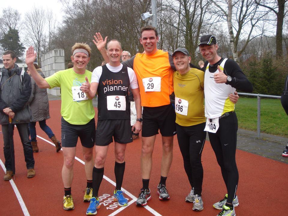 Groepsfoto met vlnr ondergetekende, Martin, Bert, Doeke en voor mij onbekende